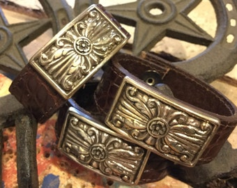 Leather cuff from reclaimed leather with silver plated embellishment