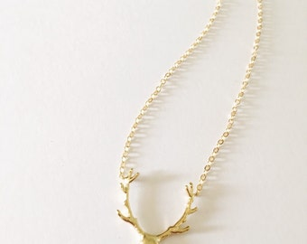 Deer Antler Charm Necklace//your choice of Gold Plated or Silver Plated