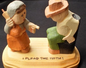 "Folk Art Carved Figurines Man and Women, ""Pleading the Fifth"" Humorous Statue"