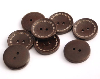 10 Dark Brown Stitches Wood Buttons, 25mm (1 Inch), 2 Holes-Stitch Design Wooden Buttons, Set of 10 (RB2501)