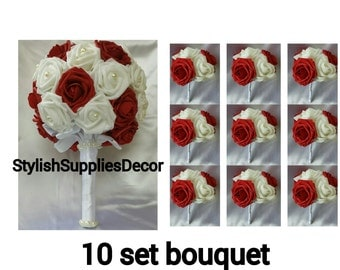 10 pcs Dark Red wedding bouquet