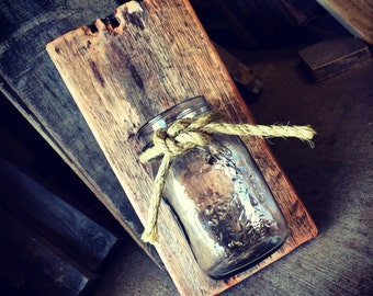 Pallet Mason Jar Vase / Candle Holder