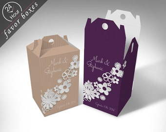 "Personalized ""Paper Flowers"" Wedding Favor Boxes"