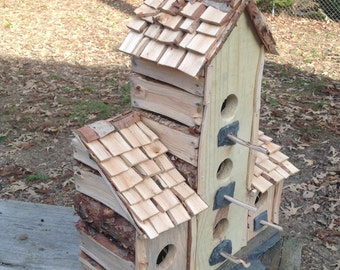 Custom five chamber wood birdhouse