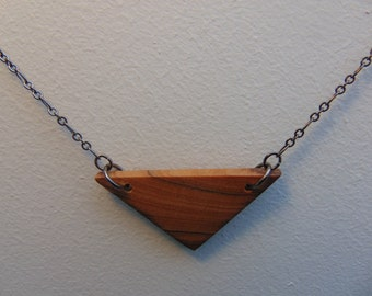 Triangle Olivewood Pendant Necklace #4