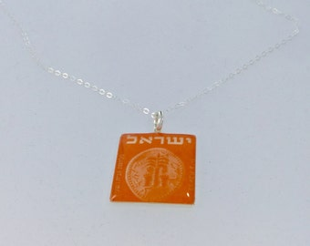 Israeli Orange: Sterling Silver and Resin Pendant Necklace