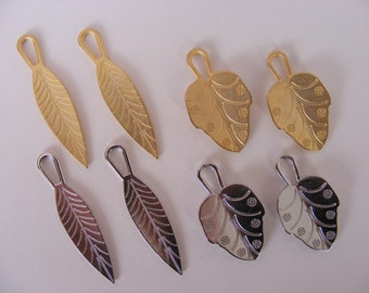Solid Metal Leaf Charms in Gold or Silver Tone x 2