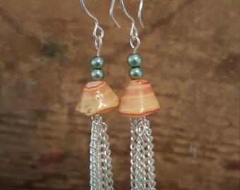 seashell dangle earrings, dangle earrings, sea shell earrings, pearl earrings, beach earrings, ocean earrings,tropical earrings