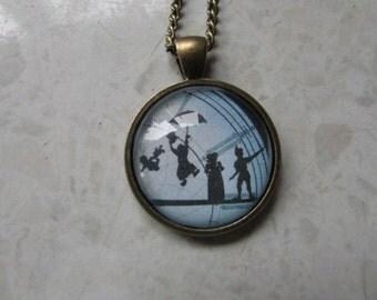 Peter Pan Clock Glass Dome Pendant Antique Bronze Necklace