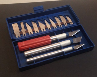 Box Organizer scalpel scrap, fimo tool precision multifunction, pen-path of precision with changeable handle with 13 units