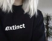 Extinct Sweatshirt 90s Internet Explorer Vaporwave Tumblr Inspired Sweater Pale Pastel Grunge Aesthetic Black Grid