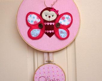Butterfly Hospital Door Hanger,Personalized Girl Nursery Door Hanger,Baby Room Decoration,Embroidery Art Name,Name Hospital Door, Felt Art