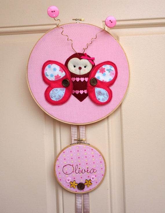 Butterfly hospital door hangerpersonalized girl nursery door for Baby girl hospital door decoration