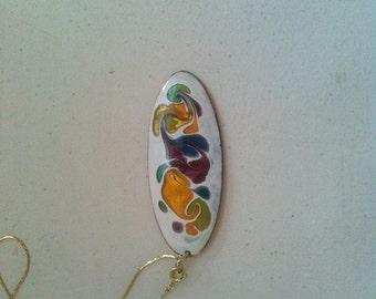 Outstanding Enamel on Copper Pendant on Chain