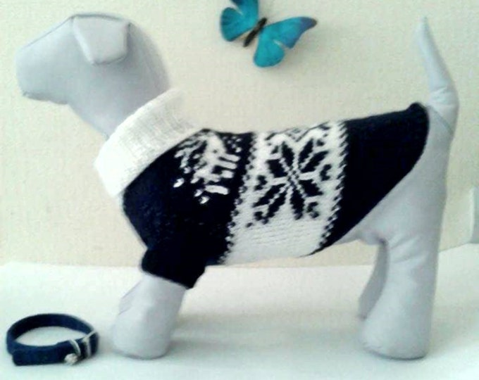 Knit Winter Pattern Big Dog Sweater. Big Pet Sweater. Big Dog Clothes. Big Dog Dress. Pattern Clothes for Big Dog. Size L