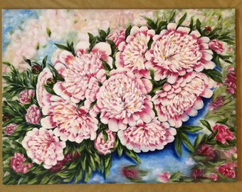 Oil painting 'Peony', canvas 75x102cm