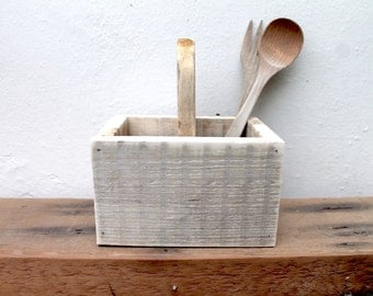 Wooden utensil/cutlery holder made from reclaimed pallet wood, rustic kitchen storage caddy.
