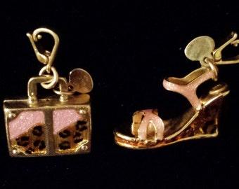 14K Gold Italian Luggage and High Heel Pendants/Charms