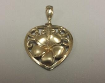 14K Yellow Gold Heart/Plumeria Hawaiian Pendant