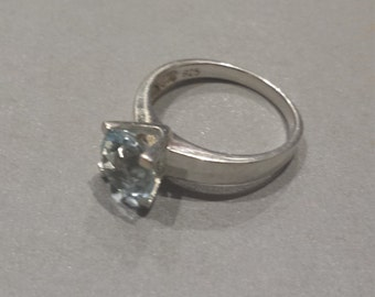 Sterling Silver .925 Solitaire Ring With Blue Stone