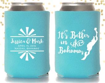 Bahamas Destination Wedding Can Cooler Beer Cozy Favor