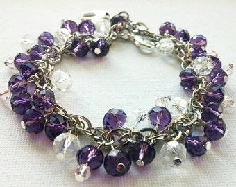 Purple and transparent cluster bracelet, Silver colored, Purple beaded bracelet, Crystal bracelet, Glass bead bracelet - FREE SHIPPING
