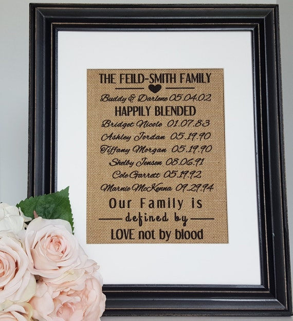 Blended Family Wedding Gift - Blended Family Sign - Stepmother Gift ...
