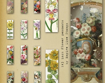 Colorful floral bouquets 1 x 3 inch rectangle artworks for Pendants Memory Glass Downloadable Printable Scrapbook Paper Crafts