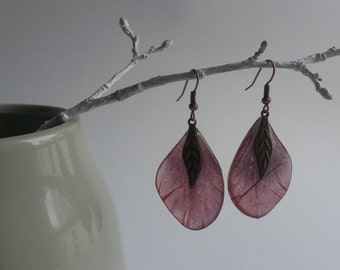 Bright Gladiolus earrings - Dangle earrings - resin jewelry with real Gladiolus - pressed flower