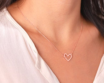 Open heart necklace / sterling silver / gold vermeil / rose gold plated charm necklace - simple everyday   jewelry - valentine