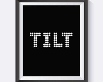 Pinball, Tilt, Digital Print Wall Art, Games Room, Arcade, Man Cave Art