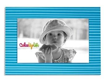 Magnetic Picture Frames - Blue - 5x7 Frame - 4x6 Photo - Refrigerator Frame - Office Frame - Easel Frame - Modern Print