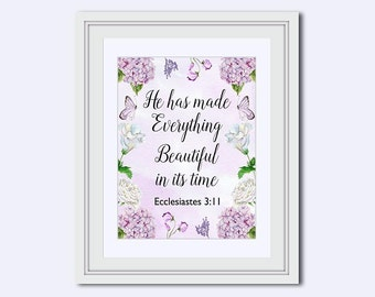 Ecclesiastes 3:11 - He has made - everything beautiful - Jesus print - botanical print - Bible Verse Print - Bible quote - Lavender print