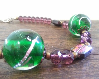 Glass beads and crystals necklace
