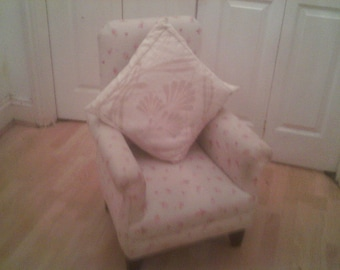 Vintage Nursery Chair upholstered cream and floral.