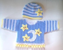 Moon and star  baby sweater and hat set. Crochet newborn outfit for baby shower, going home outfit. baby first birthday outfit unisex outfit