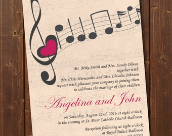 Music Wedding Invitation Printable Template/Vintage/E-card Wedding Invitation Template/Engagement Announcement/RSVP/Thank You Card/Spanish