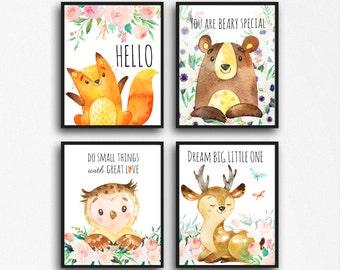Forest Nursery Printable Art Woodland Nursery boy, woodland girl,  Woodland Nursery Print Set Forest Animals Nursery Printables Fox Deer Owl