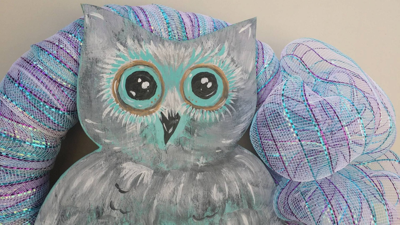 Wooden Owl Wall Decor : Owl deco mesh wreath wall decor wooden whimsy