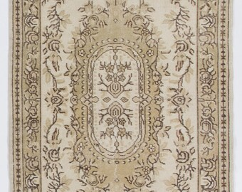 4x7 Ft  Muted Turkish Oushak Rug. Washed Out neutral Colors. Suitable for both office and home decor.  Y57