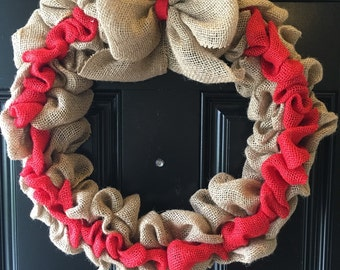 red burlap wreath **FREE SHIPPING!!!!**
