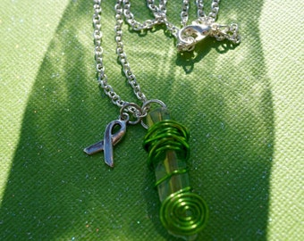 Item #114, Wire Wrapped Quartz, Necklace, Lime Green, Crystal, Metaphysical, Lyme Disease, Lyme Awareness Jewelry