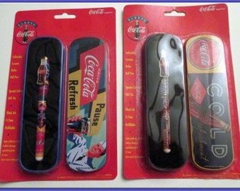Coca Cola Brand Roller Ball Pens w/ Gift Tins--in the Original  Boxes-Vintage -Two  separate gift pens  for one price.