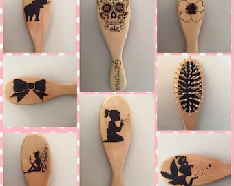 wood burnt hair brush names can be added for a personal touch