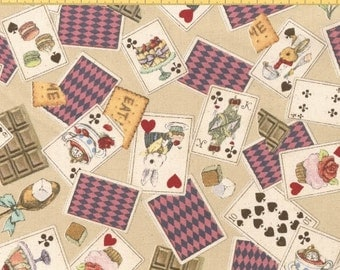 Alice In Wonderland Playing Cards Natural by Cosmo Textiles