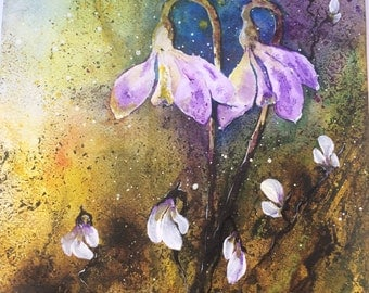 """Watercolour painting.Original. Abstract flowers """"Snowdrop"""""""