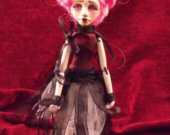 OOAK art doll, dark gothic victorian