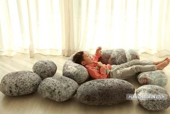 Rock Floor Pillows : Stone Pillow Floor Cushion Rock Pebble Pillow Child Play