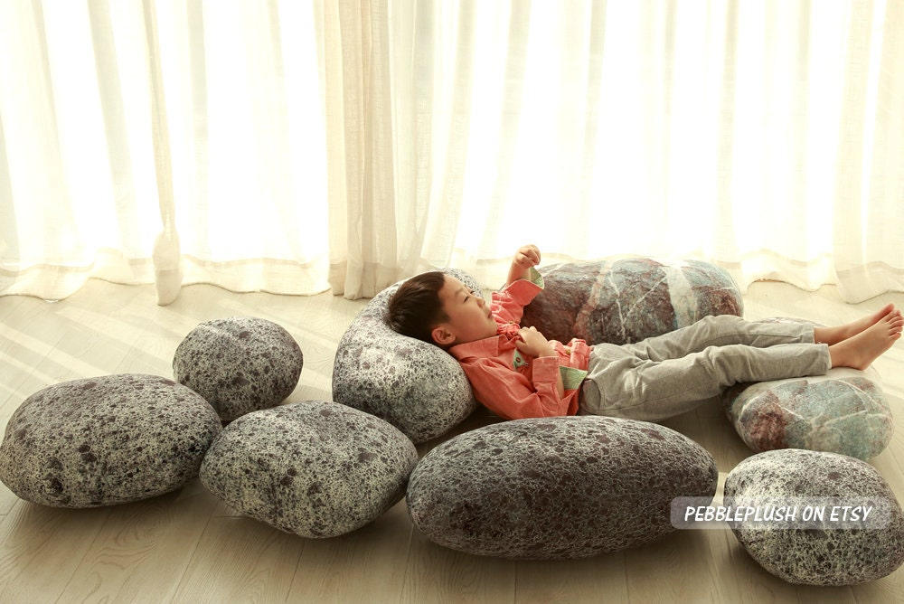 Floor Pillows Playroom : Stone Pillow Floor Cushion Rock Pebble Pillow Child Play