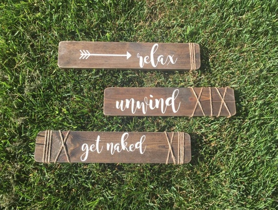 Rustic Bathroom Wall Decor Set Of 3 Signs Relax By HaddyJacks